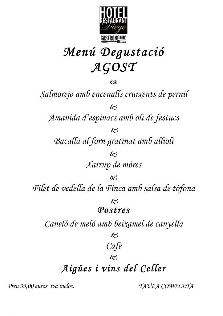 Menú Degustació Restaurant Montsià Tarragona