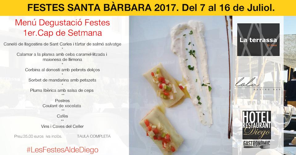 Menu degustació Festes Santa Barbara